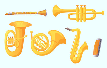 Cartoon trumpet. Winds musical instruments. Music instrument vector collection Wall mural