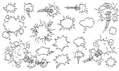 Speed cloud comic. Cartoon fast motion clouds vector set
