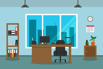 Office interior with blue wall, big window and view of skyscrapers. Vector illustration.