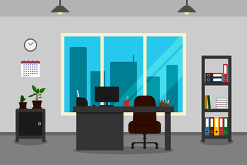 Office interior with desk, window and view of city. Vector illustration.