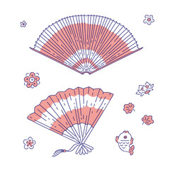 Chinese traditional fan vector line art set decoration woman costume item national symbols of China culture.
