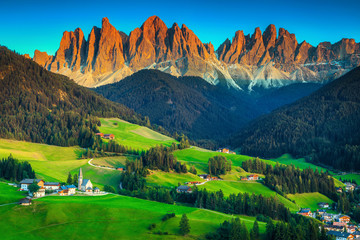 Wall Mural - Beautiful spring landscape with Santa Maddalena village, Dolomites, Italy, Europe