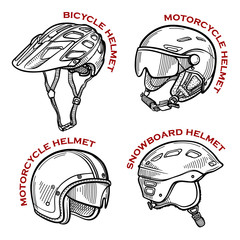 Set of sketches of different types of helmets. Hand drawn vector illustration