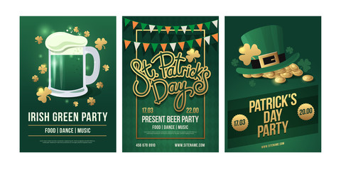 St.Patrick 's Day. Set of festive posters with symbols of Irish holiday on green background. Beer mug with foam and golden clover, a Leprikon hat and gold coins, pennant garland. Vector illustration.