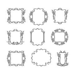 set of decorative vintage frames. hand-drawn black and white vector illustration