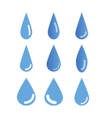 set of water drops isolated on white