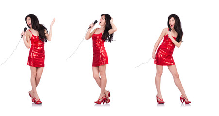 Woman in red dress singing songs