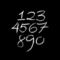 Set of grunge chalk textured numbers. Modern chalk lettering. Vector illustration.