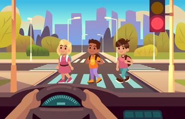 Car inside crosswalk. Drivers hands on wheel panel, kids crossing street pedestrian motion, stop, light warning