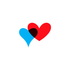 Hearts icon blue and red on white