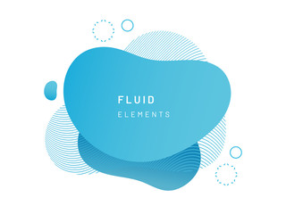 Blue fluid blob for card background. Azure liquid stain in dynamic color. Free geometrical shape for flyer. Cerulean aqua blotch with wavy lines. Abstract gradient banner template Wall mural