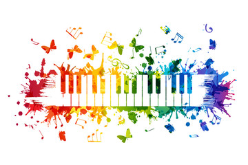 Creative rainbow musical illustration. Vector decoration element with piano keys, notes and flying butterflies.