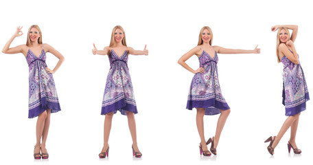 Beautiful woman in purple dress isolated on white