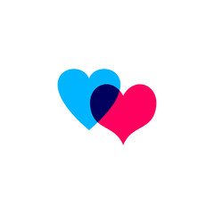 Hearts icon blue and pink on white