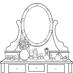 Dressing table with mirror, female boudoir for applying makeup, coloring, sketch, contour black and white drawing, vector illustration. Table with shelves and mirror with light bulbs and chair in room