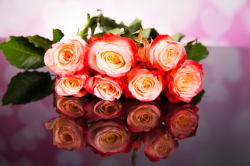 Bouquet of haber roses on a black background. Valentine's Day