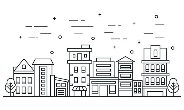 Thin line city landscape with trees. Flat design vector illustration