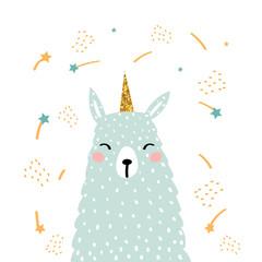 Funny alpaca unicorn with glitter horn. Kids fashion print. Vector hand drawn illustration.