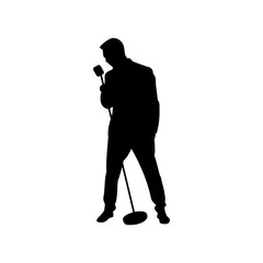 Man singing with a microphone. Vector illustration