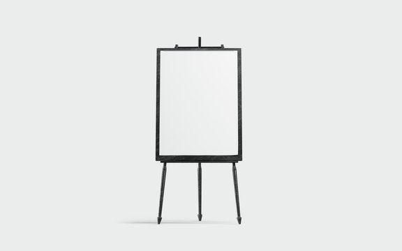 Blank white a3 canvas display on black board mockup, isolated, 3d rendering. Empty painting placard on tripod mock up, front view. Vertical image for hobby or school lesson template.