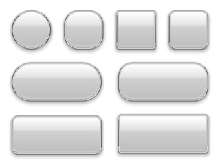 White buttons chrome frame. 3d realistic web glass elements oval rectangle square circle chrome white button interface