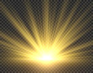 Sunlight isolated. Golden sun rays radiance. Yellow bright spotlight transparent sunshine starburst vector illustration