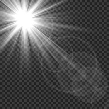 Sunlight isolated. Sun rays light lens flare glare. White transparent sunshine starburst vector illustration