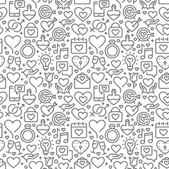 Seamless pattern with elements for Saint Valentines Day or wedding