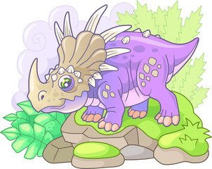 cartoon cute prehistoric dinosaur styracosaurus, funny illustration