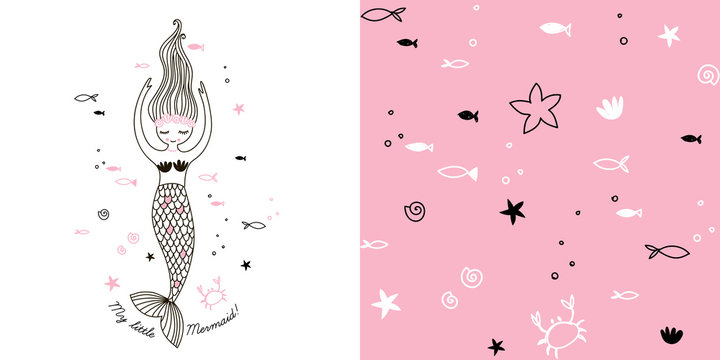 Girlish Sea themed graphic set with Little cute cartoon mermaid illustration and seamless underwater pattern with funny fish, starfish, various shells and crab. Doodle linear drawing. Pink colour
