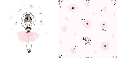 Girlish Ballet themed graphic set with Little cute cartoon dancing ballerina illustration and seamless gentle floral pattern. Doodle linear drawing. Pink colour. Perfect for baby girl fabric, textile