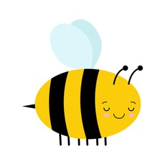 Vector Cute Cartoon Sleeping Bee Isolated On White Background kawaii