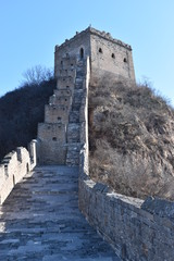Panorama of the Great Wall in Jinshanling in winter near Beijing in China