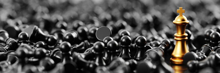 Infinite chess background, original 3d rendering. Leadership and role model concepts