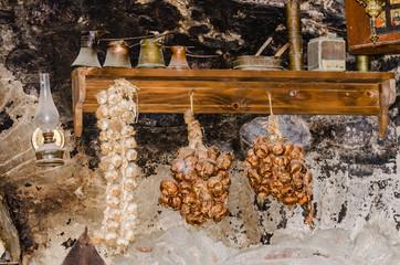Kalambaka, Greece - June 10, 2018: Setting the exhibits of the museum as part of the Orthodox monasteries of Meteora, near Kalambaka on the northwestern edge of plains of Thessaly