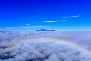ハワイ島/マウナ・ケア山頂と虹、航空写真