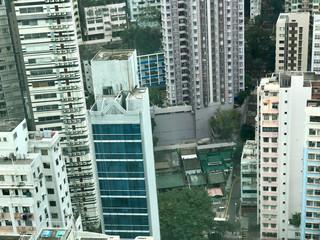 Looking down on Man Mo Temple Hong Kong