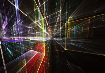 Abstract 3D fractal background, texture. 3D rendering, Virtual Neon City