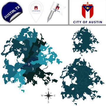 Map of Austin, TX with Districts