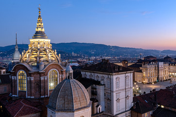 Turin skyline with Mole Antonelliana and Guarini Cathedral dome