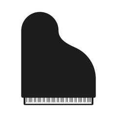 Black piano. Vector illustration in flat design.