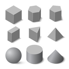 Set of geometric shapes in isometric, vector geometric figure template, isolated on white background