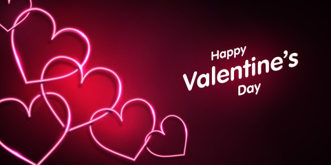 Neon heart shape on dark pink background. Happy valentines day