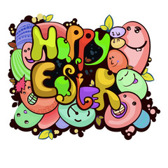 """Painted inscription """"Happy Easter"""", with fun colored eggs"""