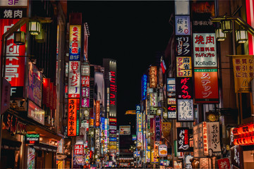 Sea of neon advertisement boards in Kabukicho Shinjuku Tokyo Japan
