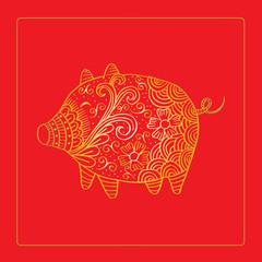 Chinese zodiac symbol of 2019.