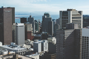 Vintage stylized photo of skyscrapers in San Francisco, California, USA.