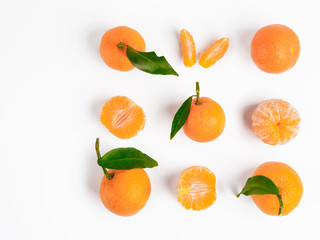 Christmas mandarin or tangerines seamless pattern. Isolated on white with clipping path. Top view or flat-lay. Copy space.