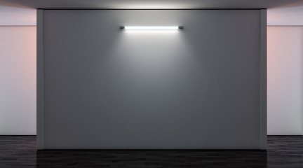 Blank white gallery wall with lamp in darkness mockup, front view, 3d rendering. Empty museum illuminated canvas mock up. Clear large glowing display for exibition or artwork template.