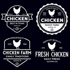 Set of chicken logo, retro print, poster for Butchery meat shop, farm etc. Farm Products, Organic and chicken silhouette.